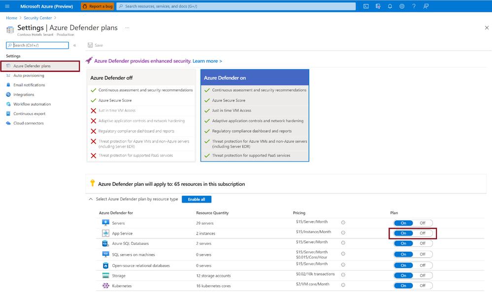 Figure 1: Enabling Azure Defender for App Service on target subscription(s)