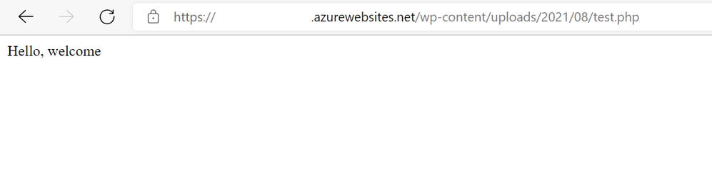 Figure 5: Browse to test PHP file using your browser
