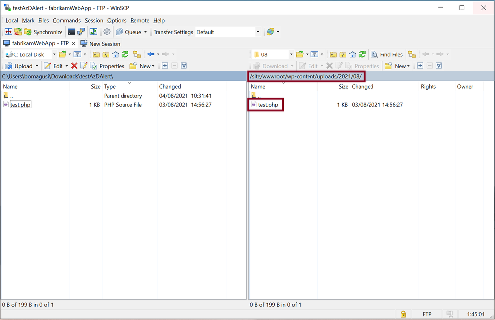Figure 4: Uploading test PHP page to folder in the website