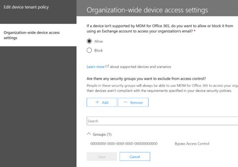 Organization-wide device access settings.