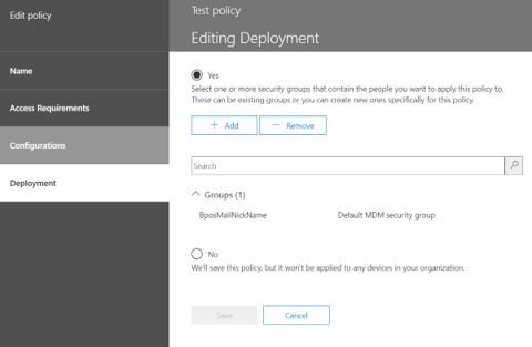 Office 365 Security and Compliance Center - Deployment policy settings.