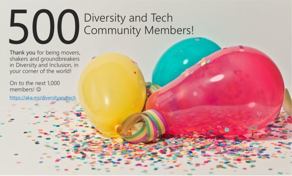 Celebrating 500 Diversity and Tech members!