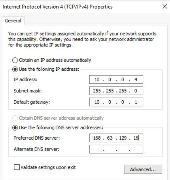 Set IP configuration for the primary IP address in the guest OS