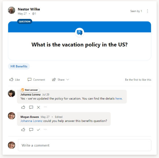 Yammer for IC - Best answer (vacation policy) - Resized to 557px.PNG