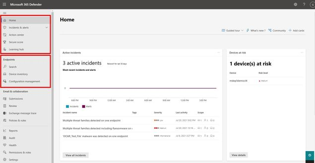 Screenshot of Microsoft 365 Defender portal with Microsoft Defender for Endpoint P1 capabilities.