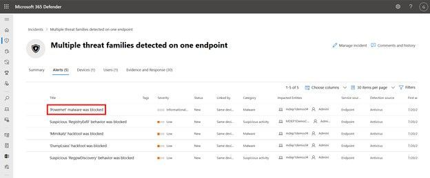 """Alerts list that is part of incident. Alert named """"Powermet malware was blocked"""" is highlighted."""