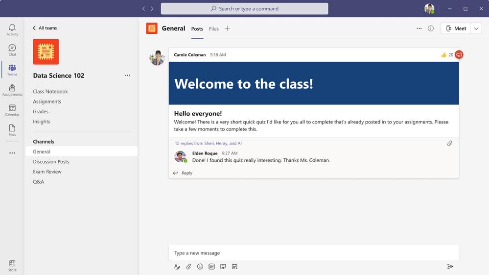 immagine di anteprima 4 con didascalia La nuova navigazione del team di classe per gli educatori include Blocco appunti per la classe, Compiti, Voti e Approfondimenti appuntati a sinistra.