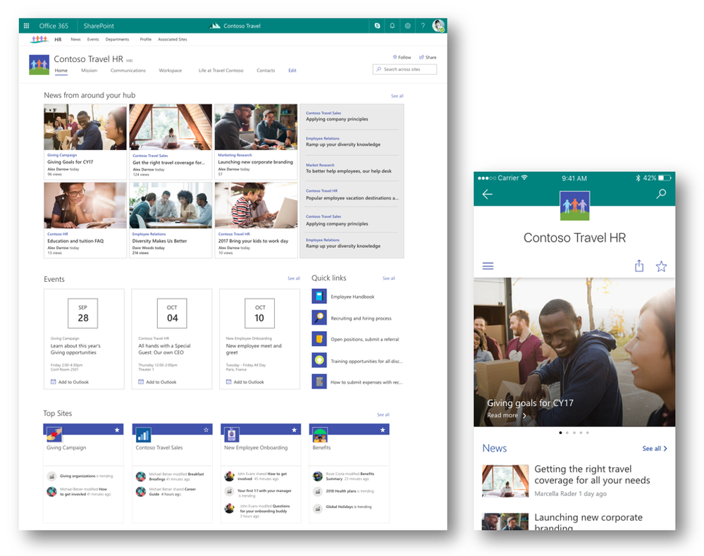 The Contoso Travel HR communication shown here as a part of the HR hub site, Web view on the left, within the SharePoint mobile app on the right.