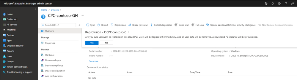 Reprovisioning message in the Microsoft Endpoind Manager admin center