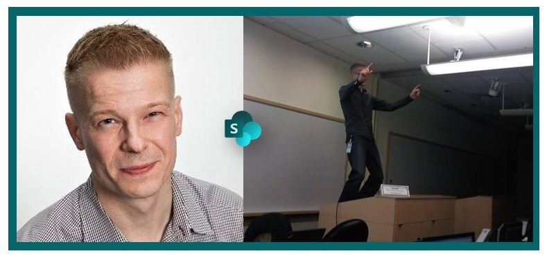 Vesa Juvonen, principal program manager at Microsoft [Intrazone guest]: (left) profile pic, (right) #TBT 2010 from the rotation 6 of the Microsoft Certified Master (MCM) SharePoint training in Redmond, WA - where the presenting without shoes originated.