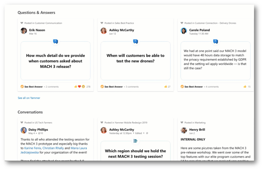 Microsoft use of the Yammer Topics API used to showcase Yammer content in Viva Topic pages.