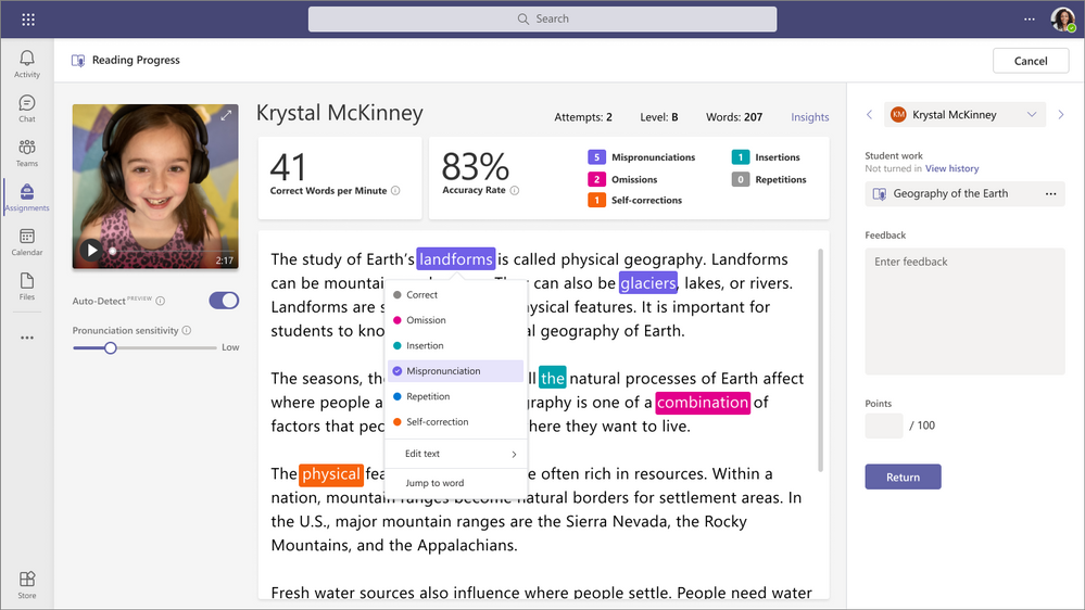 Reading Progress isafreetooldesigned to help students build confidence and reading fluency through personalized reading experiences built into Assignments in Microsoft Teams.