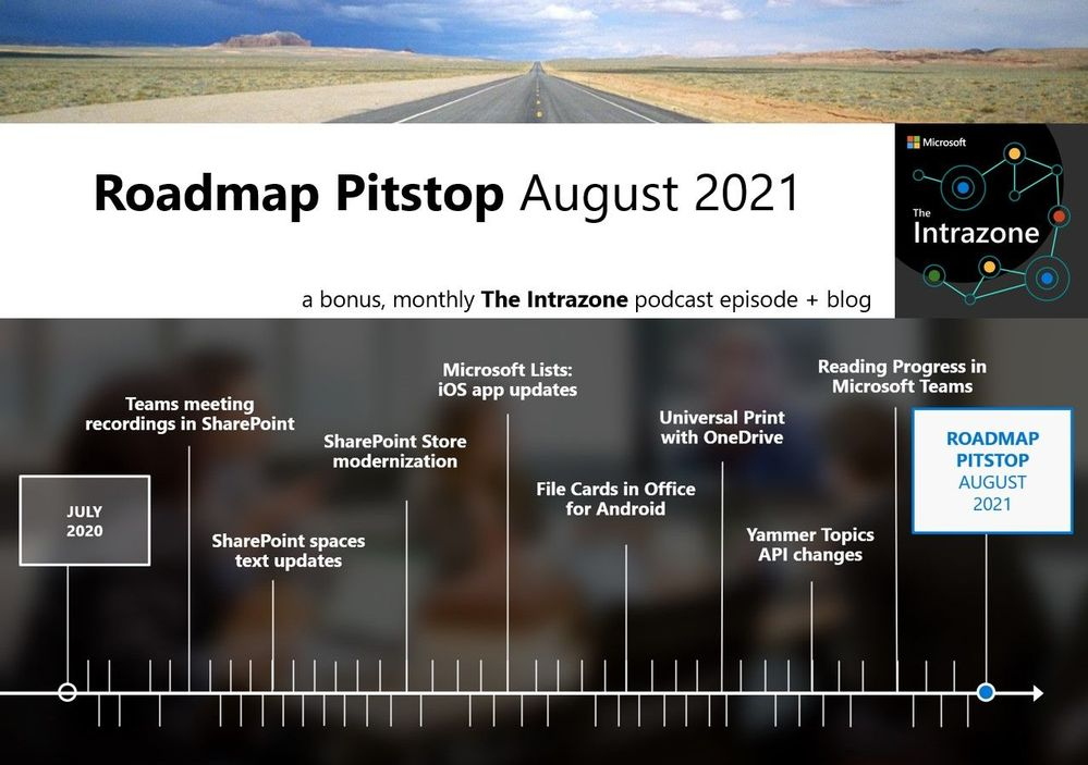 The Intrazone Roadmap Pitstop – August 2021 graphic showing some of the highlighted release features.