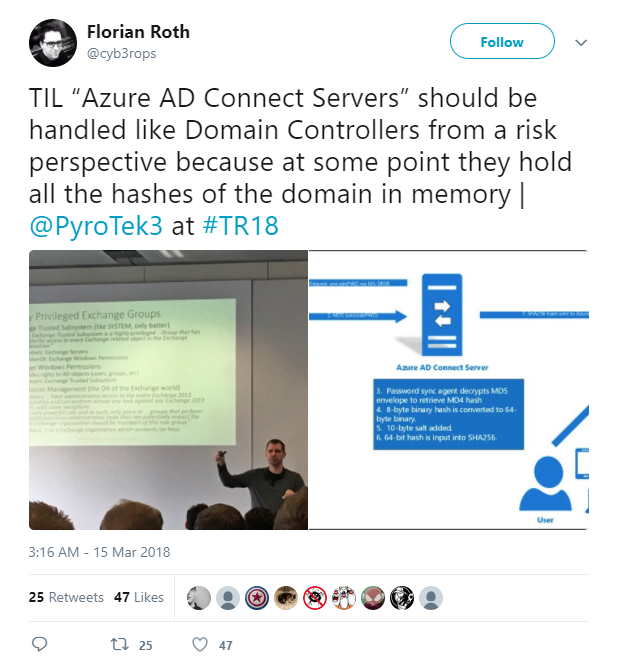 """2018-03-22 13_58_27-Florian Roth on Twitter_ _TIL """"Azure AD Connect Servers"""" should be handled like .png"""