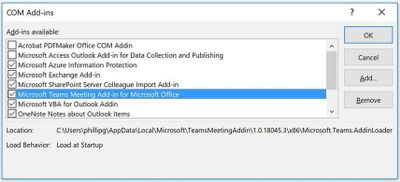 Outlook Options, View Add-ins dialog box