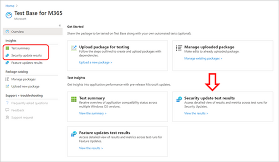 Locating test summaries and security update test results in Test Base for Microsoft 365