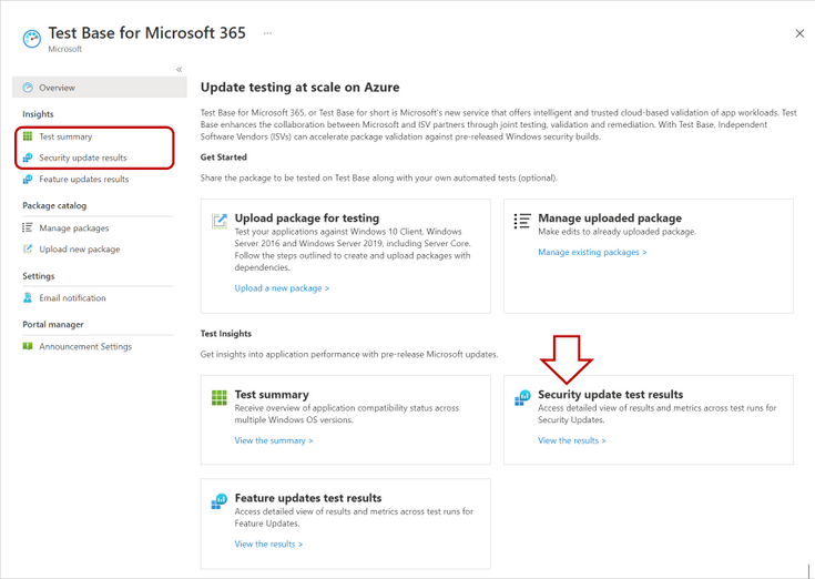 Locating test summaries and security update results in Test Base for Microsoft 365
