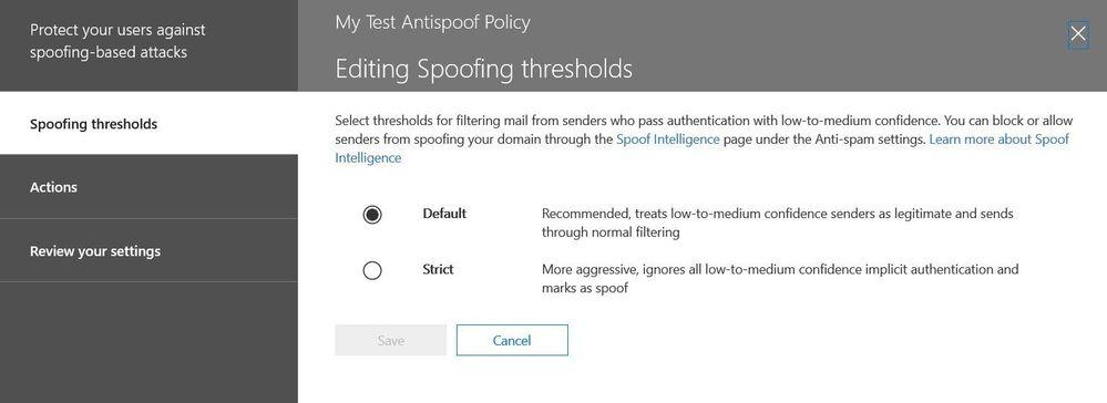 Figure 5.  Spoof threshold admin control panel