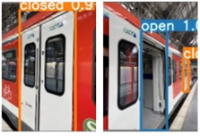 Examples of closed (left) and opened (right) train doors on a light rail car.