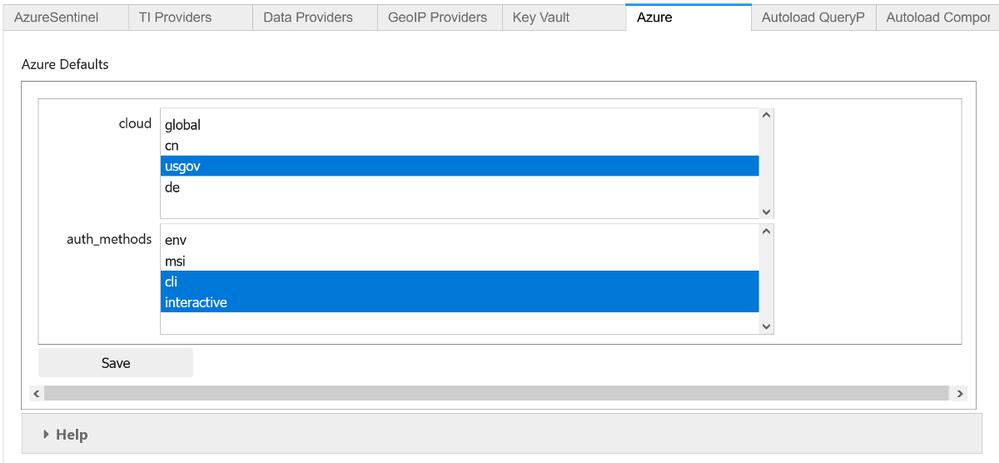 Azure configuration in MSTICPy Configuration editor