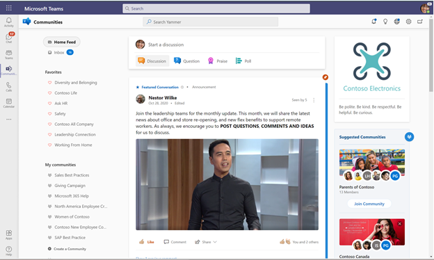The Communities app for Teams brings the full Yammer experience, including community notifications, into Teams as an app in the app bar.