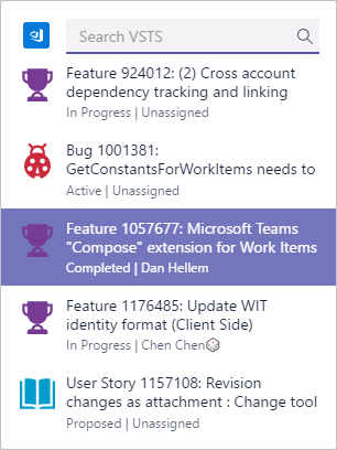 Search for a VSTS item directly in chat