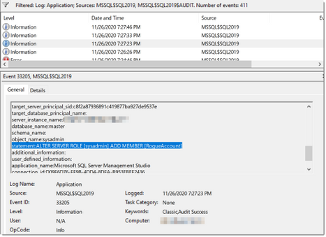 Windoiws Application Log with SQL Audit record