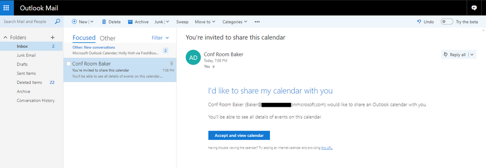 thumbnail image 6 of blog post titled              Sharing Office 365 Room's availability to external users
