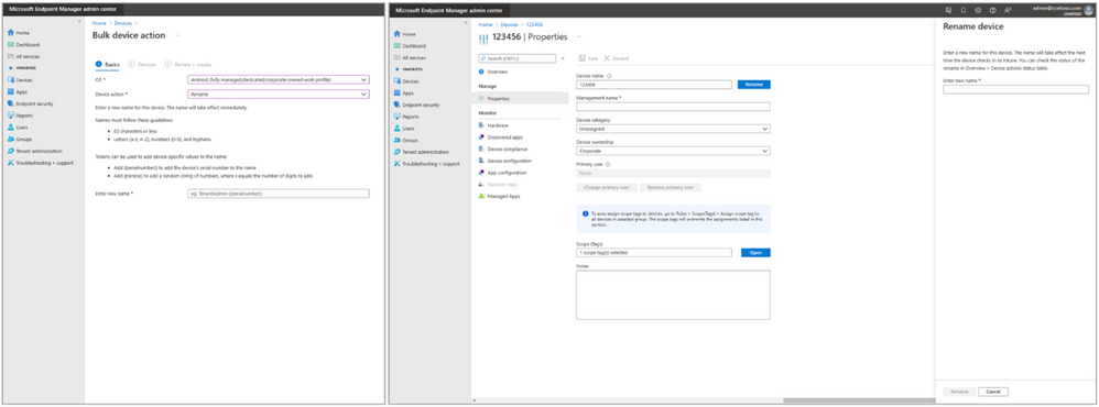 Here's a screen shot that combines both the bulk device action (left) and the individual rename action (right) from the Endpoint Manager admin center.png