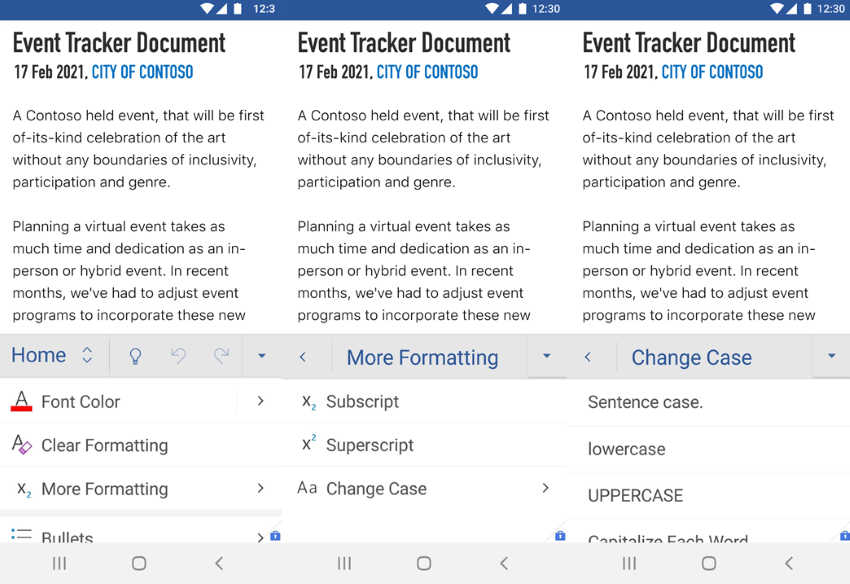 thumbnail image 2 of blog post titled              Increase productivity with new features on Word for Android and iOS