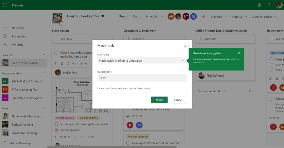 Image description: A screenshot of a Planner board with the Move task window open and a new plan name selected; a teaching callout highlights that you can move tasks to any plan you're a member of