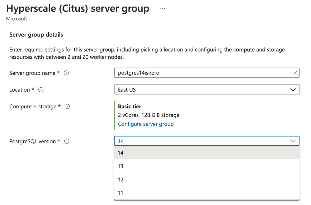 Figure 5: Screenshot from the Azure Portal provisioning flow when creating a Hyperscale (Citus) server group, highlighting that PostgreSQL version 14 is now available.
