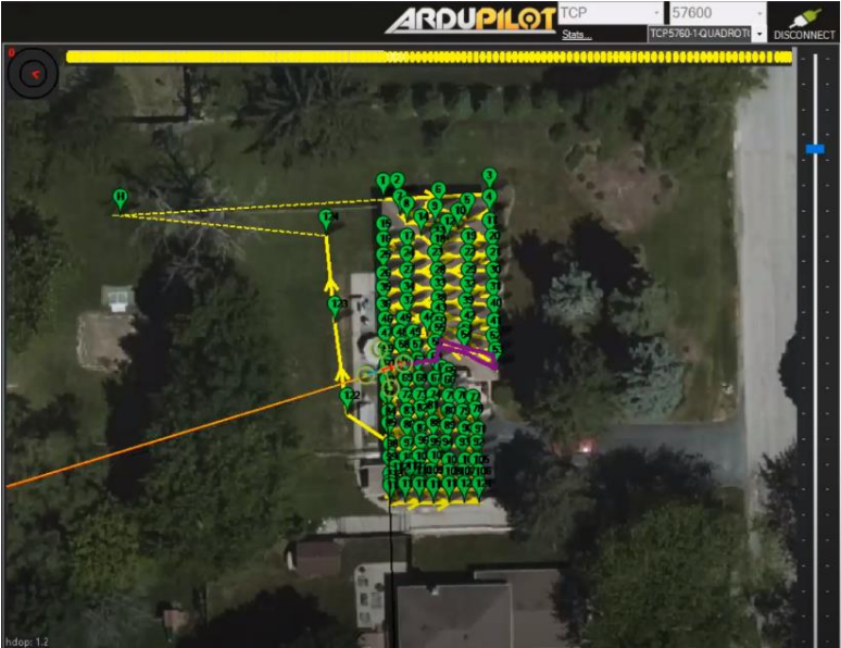 Image: The route I created to inspect a residential roof using ArduPilot Mission Planner