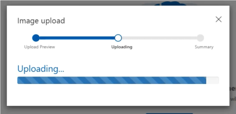 Image: The image upload process will show the progress, time will vary based on the number of images  you upload