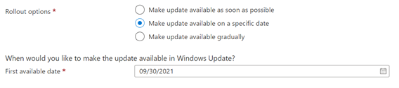 Figure 2: Option to make update available on a specific date