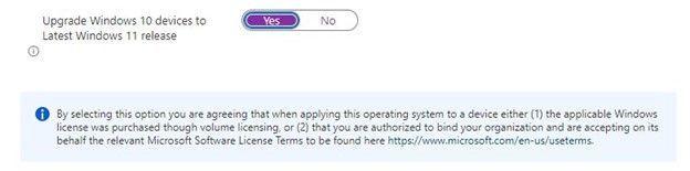 Figure 4: Update to Windows 11 setting in Update Rings