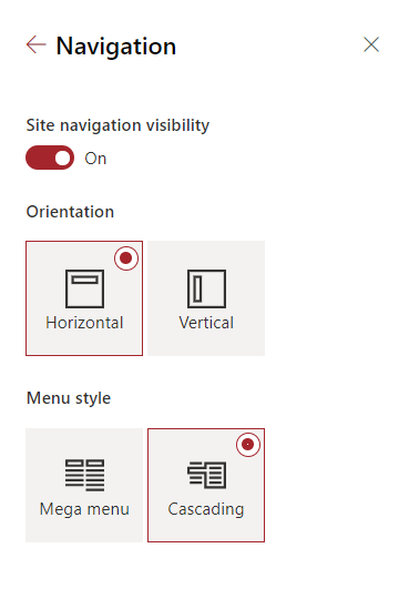 thumbnail image 5 captioned On your team site, click the Settings button and then click Change the look > Navigation.