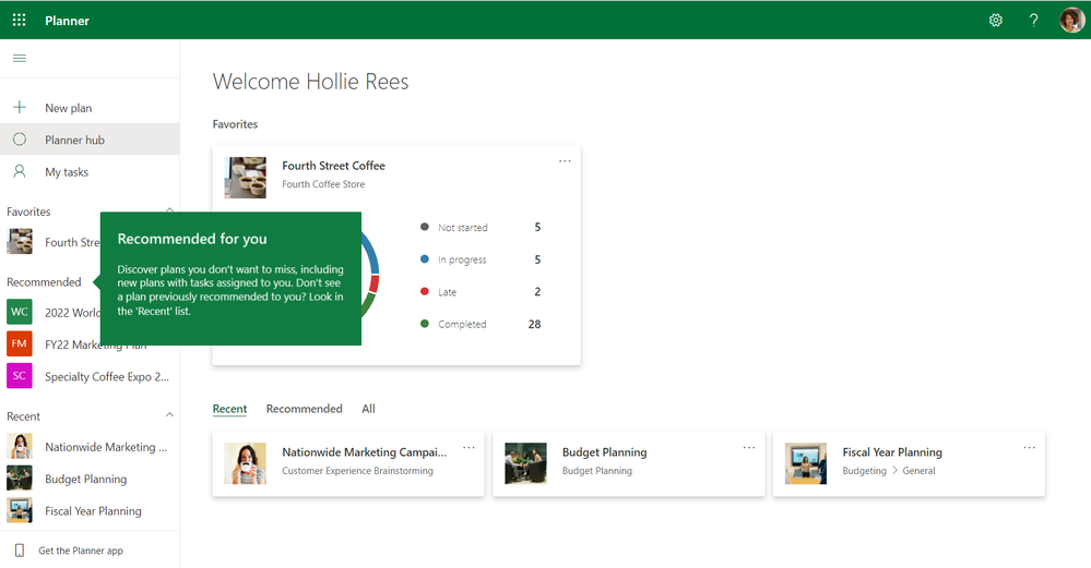 A Planner board with a teaching callout to highlight the Recommended for you section in the Planner web experience.