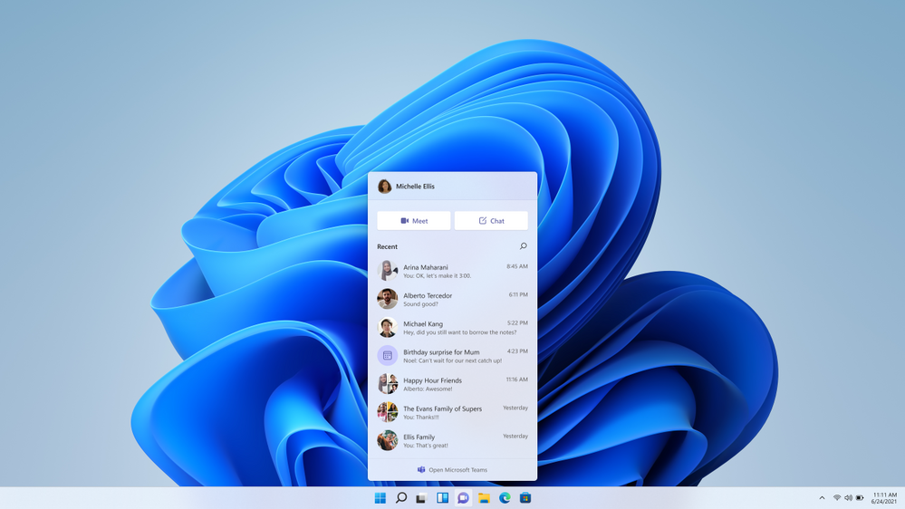 Chat from Microsoft Teams on Windows 11