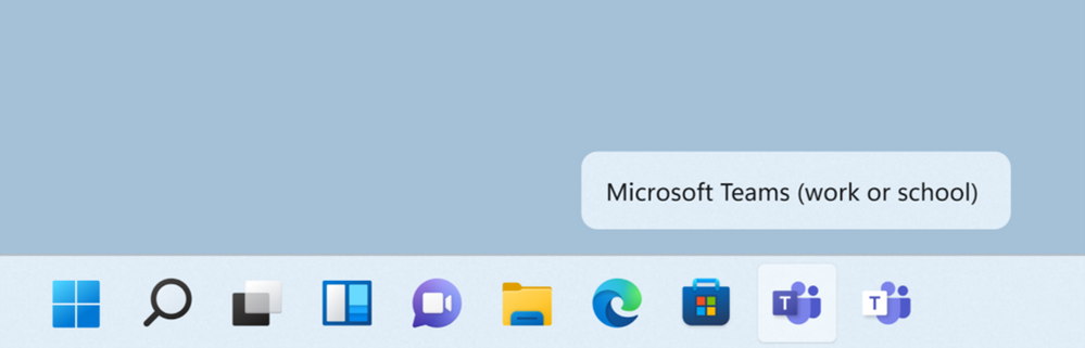 Microsoft Teams icons and label in the Windows Taskbar.