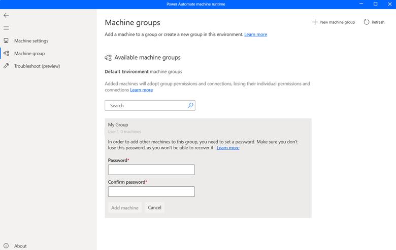 Screenshot of machine group customization screen in Power Automate.