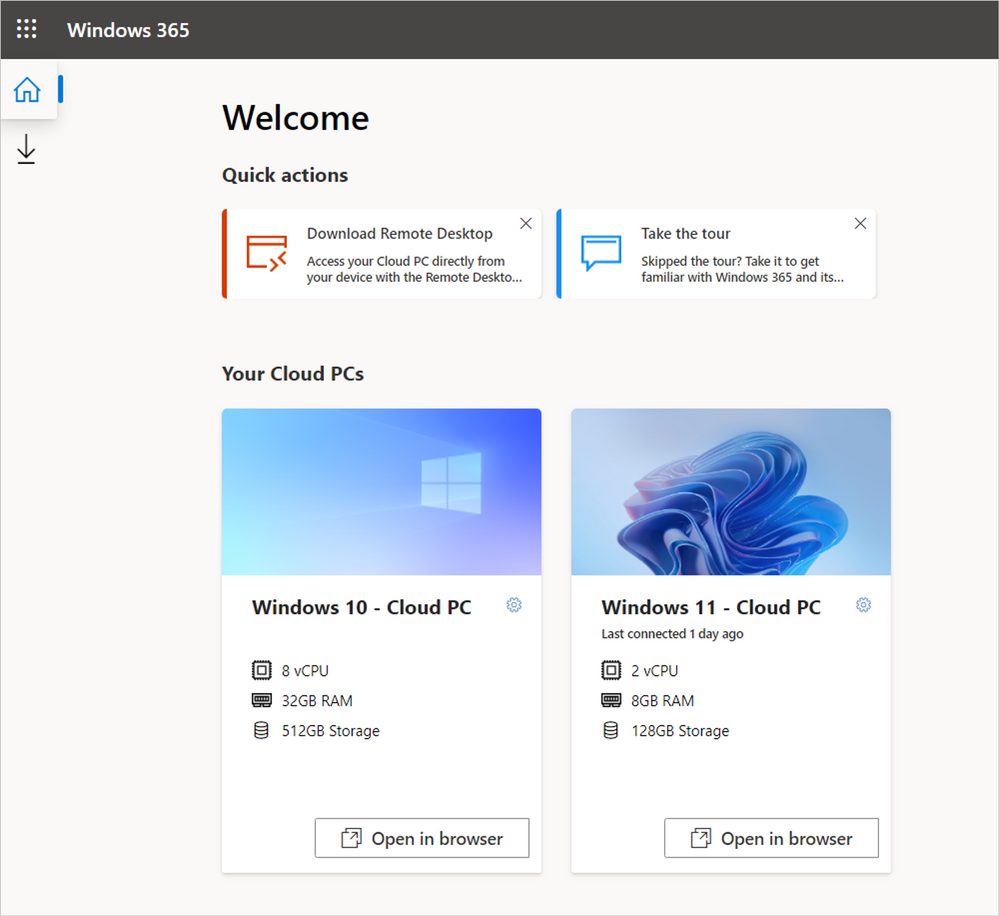 thumbnail image 1 captioned The Windows 365 end user portal with options to launch a Windows 11 or Windows 10 Cloud PC