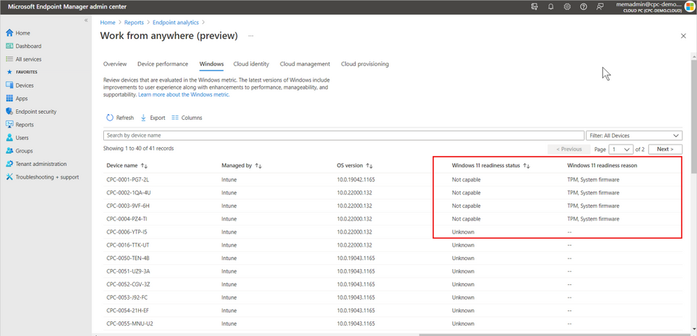 thumbnail image 5 captioned Assessing Windows 11 readiness for a Windows 365 Cloud PC in Endpoint analytics