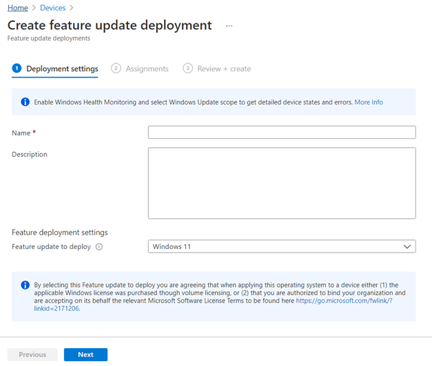 Figure 1: Feature update profile in Endpoint Manager for Windows 11