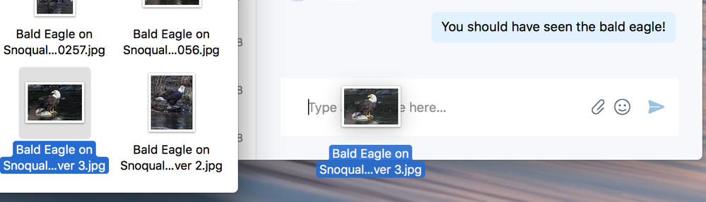Drag and drop files into a chat