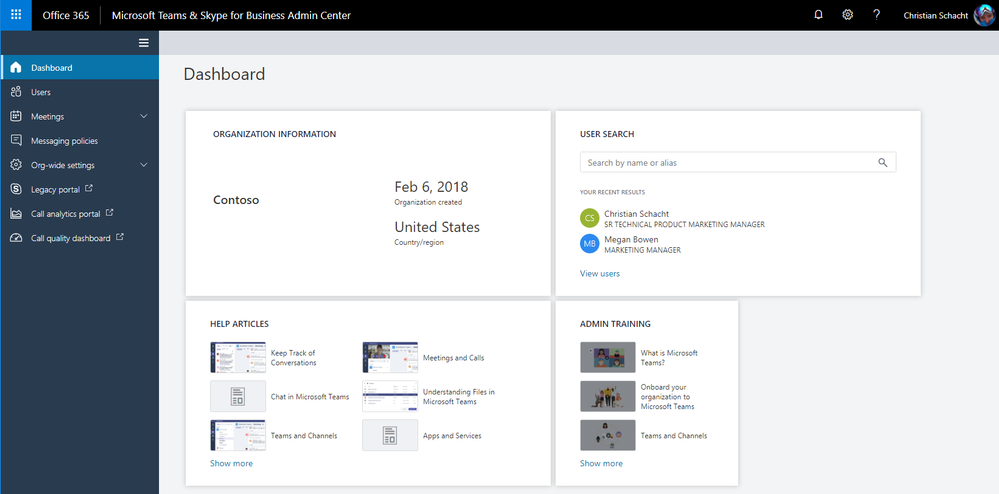 Microsoft Teams & Skype for Business Admin Center Dashboard