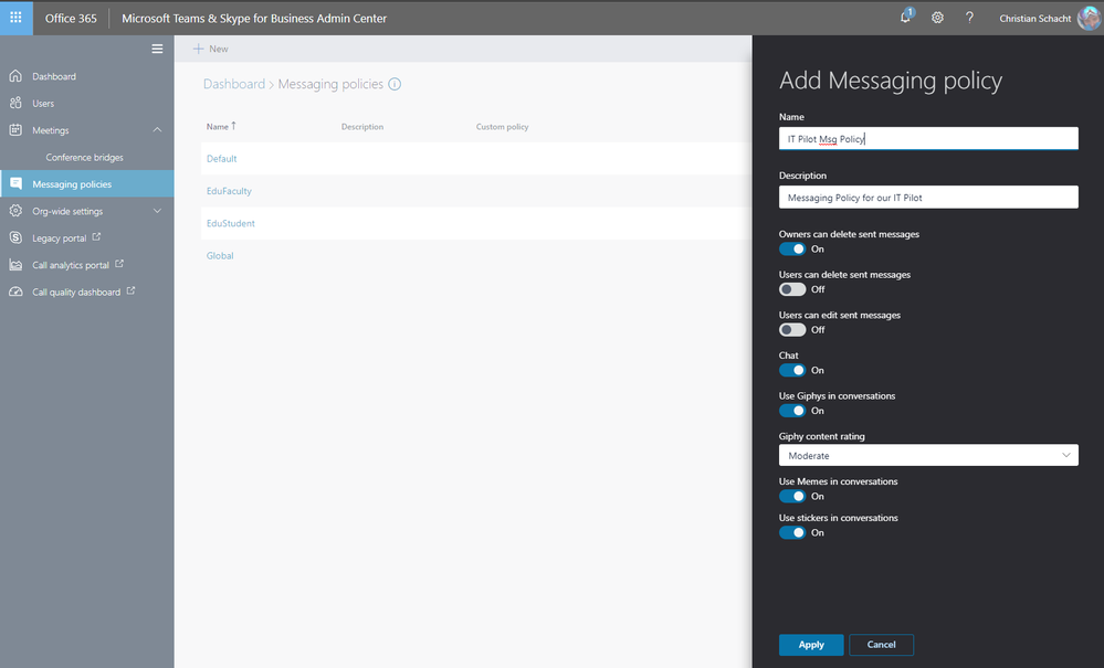 Create a custom messaging policy