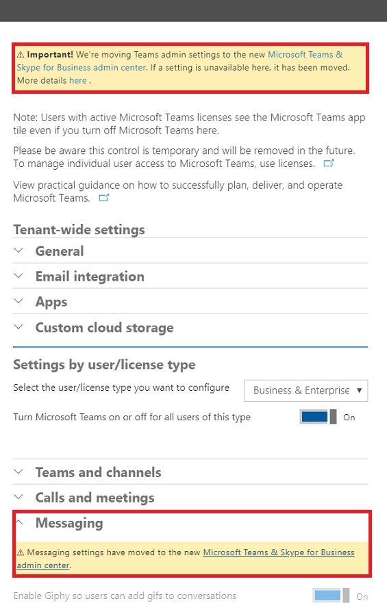 Migrated settings within Teams in the Office 365 Admin Center