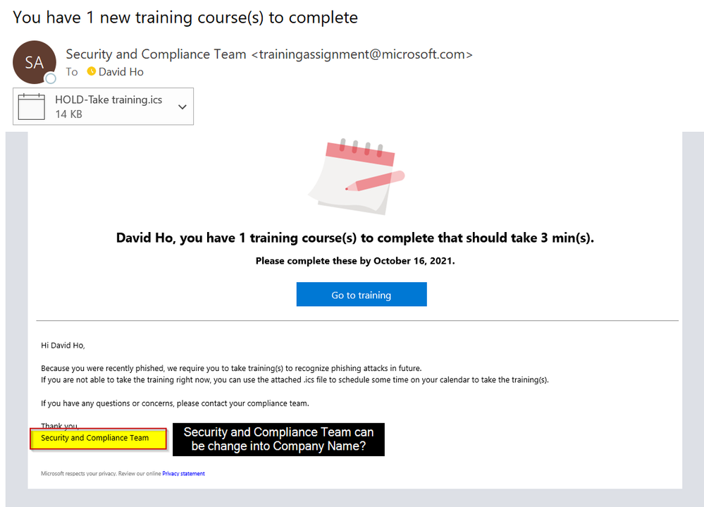Attack Simulation Training assigned Training Notification can change into Company Name.png