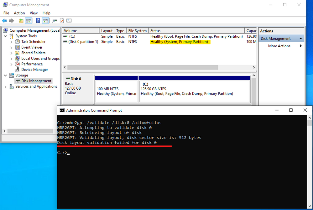 mbr2gpt tool validation result without active partition